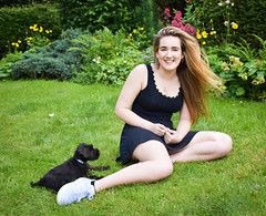 Becca and Milo (littlestschnauzer) Tags: milo dog puppy daughter becca family uk mini home schnauzer small pup 2019 june garden
