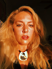 Day 050 (H o l l y.) Tags: self portrait sunshine bright light amber blonde fashion necklace retro indie vintage what fun evening after work i got dressed up went see absinthe we had front table seats it was