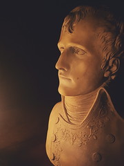 he was a hero (MadMadelyne) Tags: vsco phonephotography napoleon statue lamplight profile drama