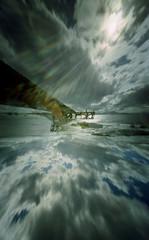 Pinhole  reflection (wheehamx) Tags: reflection pinhole camera wide angle blend portencross