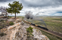 Rock River: Round 2 (Carlos Ferran) Tags: rock river wyoming up union pacific 4014 844 up4014 big boy 4884 laramie subdivision rural rocks west is best pine ridge steam engine locomotive tree cloudy sping
