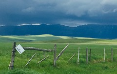 Heartland .... HFF (Mr. Happy Face - Peace :)) Tags: sky cloud art2019 flickrfriday fencefriday stormy weather heartland canada alberta mountains foothills albertabound cans2s rain cloudy moody cowboytrail 22x hyway
