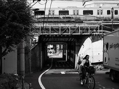 along train tracks (peaceblaster9) Tags: train tracks street wires lines shadows lights okubo tokyo 鉄道 電車 大久保 東京 影 ガード下 blackandwhite bnw bw blackwhite 白黒 モノクローム
