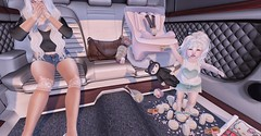 Oh, Child! (Emery/Teagan Parker) Tags: vivakids doe whimsical colormecute foxcity adams emery lara bebebodyfitted toddleedoo whitehair bigandlittle messy car mess dear lord give me strength