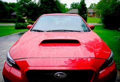 Not slippery when wet (Dan Haug) Tags: subaru wrx 2015 red waterdroplets sedan import fujiheavyindustries automobile fujifilm fujixseries xt3 xf16mmf14rwr xf16mm mirrorless