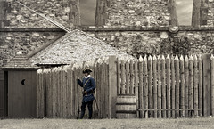 waiting for or guarding the loo at Louisburg Fortress (marianna armata) Tags: soldier louisburg novascotia 1743 old restored fort french mariannaarmata hff