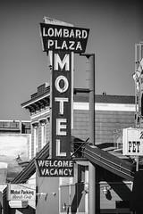 Lombard Plaza Motel (Thomas Hawk) Tags: america bayarea california lombardplazamotel northerncalifornia sfbayarea sanfrancisco usa unitedstates unitedstatesofamerica westcoast bw motel neon neonsign norcal fav10 fav25