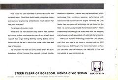 1999 Honda Civic Sedan NSX Sports  Page 2 Aussie Original Magazine Advertisement (Darren Marlow) Tags: 1 9 19 99 1999 h honda c civic n x s nxs sports sedan car cool collectible collectors classic a automobile v vehicle j jap japan japanese asian asia 90s