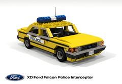 Ford XD Falcon Police Interceptor (lego911) Tags: ford falcon xd sedan saloon 1979 1970s classic motor company aussie australia australian police cop fuzz interceptor queensland auto car moc model miniland lego lego911 ldd render cad povray afol foitsop