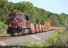Right here, right now (MN transfer) Tags: canadianpacific railway cp cprail train freight 198 stack intermodal containers riversub milepost333 kellogg minnesota cp9723 ge ac4400cw generalelectric locomotive