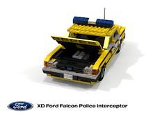 Ford XD Falcon Police Interceptor (lego911) Tags: ford falcon xd sedan saloon 1979 1970s classic motor company aussie australia australian police cop fuzz interceptor queensland auto car moc model miniland lego lego911 ldd render cad povray afol
