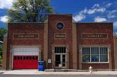 Multi-purpose (gingersnaps509) Tags: blue red brown brick washington wa uniontown palouse exterior