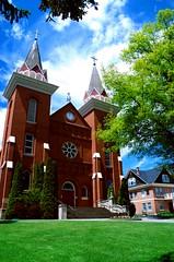 St. Boniface (gingersnaps509) Tags: blue red brick green church rural washington wa uniontown palouse exterior