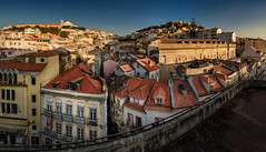 Lisbon's beating heart (Pietro Faccioli) Tags: road street city blue houses windows roof sunset sky tower portugal church window skyline evening town view terrace lisbon traditional horizon roofs belfry belvedere façade