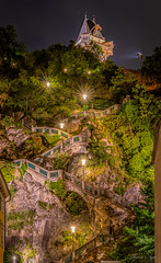 Graz Schlossberg - Stairs to the clock tower (Tom_Agne) Tags: night stairs austria climb graz nostalgie styria famousplace summer tower vertical streetlamp