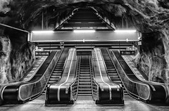 "From the cycle ""Amazing metro stations in Stockholm"". Västra Skogen metro station. (Pawel Wietecha) Tags: västraskogen stockholm metro station subway underground architecture modern art tube city architecturalphotography cityscape landscape travel trip sweden amazingmetrostationsinstockholm metrostationsinstockholm pawelwietecha train europe cave light journey urbanscape blackandwhite bw mono monochrome blanc weis schwarz noir black white blackwhite blanche negra blanco negro enblancoynegro"