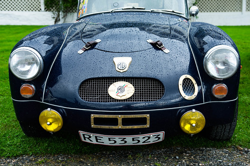Navy blue stylish MG car
