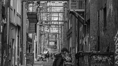 Vancity Alley (Sworldguy) Tags: alley urban blackwhite bw dtes vancouver trashbin garbage graffiti lane streetphotography streetperson building people sony a7iii grey