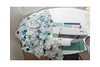 Slowly but steady (balu51) Tags: patchwork sewing quilting quilt wip scrappyflowerquilt hexagons scrappy scraps fabricstash stashsewing machinepieced sewingtable sewingmachine white teal aqua blue cream juni 2019 copyrightbybalu51