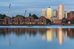 Construction Wharf (JH Images.co.uk) Tags: canarywharf reflection limehouse crane water dock night clouds twilight skyscraper skyscrapers