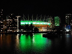 BC Place Stadium at night (walneylad) Tags: bcplace stadium sportsarena building roof green lights falsecreek downtown chinatown vancouver britishcolumbia canada night evening dark june spring condos towers water reflection scenery view cityscape skyline urban city town modern architecture