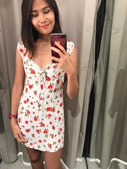 new outfit (ChalidaTour) Tags: portrait woman cute girl beautiful asian thailand asia dress sweet room femme mini clothes teen changing thai nina cloth hm petite selfie twen