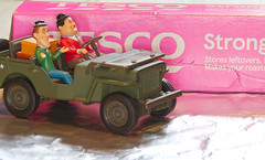 """Smile on Saturday - pink.   """"This is another foil mess you have got me into, Ollie!""""IMG_9739 (alisonhalliday) Tags: pink jeep miniatures modelvehicle macro canoneos77d sigma105mm laurelhardy"""