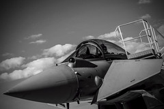The Typhoon (Miguel Ángel Prieto Ciudad) Tags: typhhon aircraft jet fighter military tifon bnw black white monochrome spanishairforce albacete aviation sky clouds closeup airplane sonyalpha alpha3000 mirrorless emount ala14