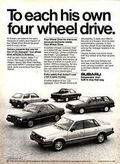 1984 Subaru 4WD Range Hatchback Utility Coupe Sedan Wagon USA Original Magazine Advertisement (Darren Marlow) Tags: 1 4 8 9 19 84 1984 s subaru r range w d 4wd c car cool collectible collectors classic a automobile v vehicle j jap japan japanese asian asia 80s