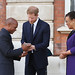 Award winner Wayne Neale of St Lucia receives his prize from the Duke of Sussex