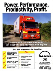 1998 MAN 15 Tonner Truck Aussie Original Magazine Advertisement (Darren Marlow) Tags: 1 5 8 9 19 98 1998 m a n man 15 t tonner truck c cool collectible collectors classic automobile v vehicle u us usa united states american america 90s