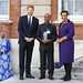 Award winner Wayne Neale of St Lucia receives his prize from the Duke of Sussex and the Commonwealth Secretary-General