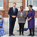 Award winner Elizabeth Kpperun of Nigeria receives her prize from the Duke of Sussex and the Commonwealth Secretary-General