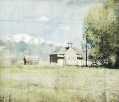 schools out (jssteak) Tags: canon colorado schoolhouse mountains trees morning aged faded abondoned