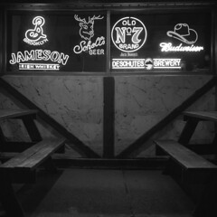 cc-club (kaumpphoto) Tags: rolleiflex 120 tlr street urban city minneapolis ilford bw black white bar neon picnictable window sign hat cowboyhat budweiser beer schells jameson whiskey b brooklyn stag antlers composition half semetrical drink alcohol jackdaniels