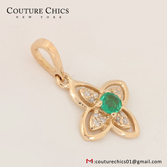 Genuine Emerald Gemstone Flower Designer Charm Pendant 18k Yellow Gold Diamond Pave Fine Jewelry NEW (couturechics.facebook1) Tags: genuine emerald gemstone flower designer charm pendant 18k yellow gold diamond pave fine jewelry new
