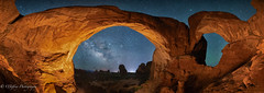 Double Arch - Inside Out (OJeffrey Photography) Tags: doublearch archesnationalpark utah ut lll lowlevellighting stars starscape nightsky night nightscape panorama pano ojeffreyphotography ojeffrey jeffowens nikon d850