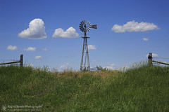 Rusting Away on the Outlaw Trail (right2roam) Tags: nebraska sandhills windmill windpump aermotor fence ranch rangeland prairie greatplains summer right2roam sky clouds field agriculture farming ranching outlawtrail