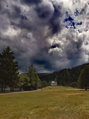 Before the storm. (denismartin) Tags: longemer lake xonruptlongemer xonrupt gerardmer vosgesmountains vosges lorraine france summer cloud sky weather church sun
