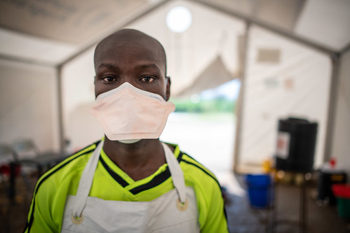 Uganda Red Cross volunteer helping screen thousands of people who cross the border each day from the Democratic Republic of the Congo (DRC), close to the epicentre of the Ebola outbreak.