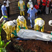 A Red Cross Ebola Safe and Dignified Burial team demonstrates a safe and dignified burial process to a community in Western Uganda, near the border with the Democratic Republic of the Congo (DRC)