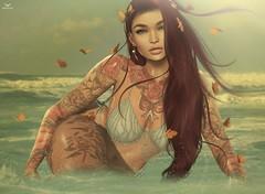 Caiti~SummeryPastels (Skip Staheli *11 YEARS SL PHOTOGRAPHY*) Tags: summer secondlife sl skipstaheli caitibaxton avatar virtualworld digitalpainting water splash beach bikini sensual erotic butterflies