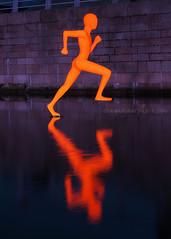 The Runner (.annajane) Tags: uk england sculpture orange reflection water statue liverpool merseyside merseyriverfestival mannisland art night dock faithbebbington