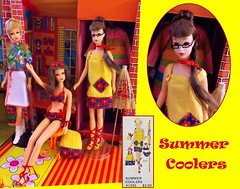 SUMMER COOLERS (ModBarbieLover) Tags: summer coolers francie doll mod fashion mattel yellow red blue toy fall braid brunette barbie vintage bikini cover up glasses house case