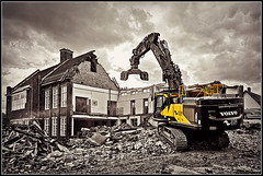 Ain't no reasons for destruction (Jason 87030) Tags: derelict dozed raised demolition destruction daventry library grammarschool northants northamptonshire yellow tones mono black white noir blanc buislding bricks rubble dust sky clouds weather urban shot june 2019 uk engand