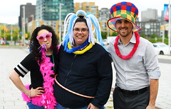 Race Fans (Anthony Mark Images) Tags: people portrait fans fun funny lei garlands heartsunglasses colourful hats charityrace canada ontario ottawa smiles noisemaker pinkboa nikon d850 flickrclickx trio