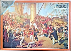 "FALCON F ? 1000 28 3/8X20 CM ART 3164 THE DEATH OF NELSON This box image is the earlier one. (Andrew Reynolds transport view) Tags: jigsaw ""jigsaw puzzle"" picture pieces large difficult falcon hobby leisure pasttime f 1000 28 38x20 cm art 3164 the death of nelson this box image is earlier one"