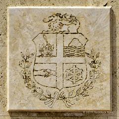 Aruba Coat of Arms (© Freddie) Tags: aruba oranjestad coa coatofarms shield stone fjroll ©freddie
