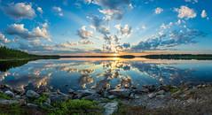 Happy Midsummer day! (M.T.L Photography) Tags: kiantajärvi lakekiantajärvi suomussalmi finland suomi midsummerday mikkoleinonencom panoramicphotography water calm sunset clouds midnightsun serene tyyni kesäyö bright night