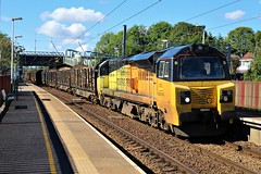 Colas Rail 70801 6J37 at Euxton Balshaw Lane station. (Powerhaul70Pey) Tags: colasrail 70801 70 6j37 carlisle chirk logs freight train locomotive railway rail railroad euxtonbalshawlane